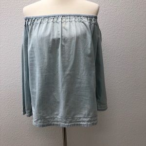 Gap women's chambray off the shoulder peasant top